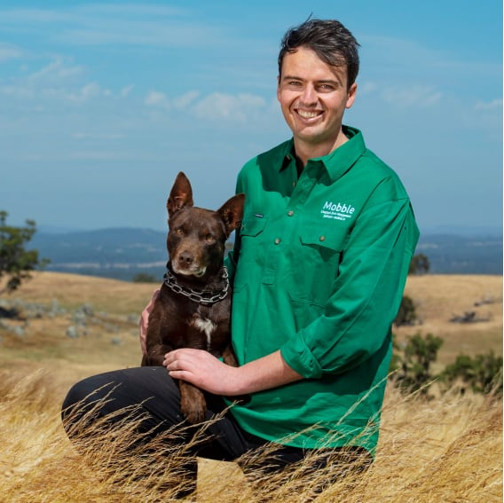 Jock Lawrence from Mobble in a farm paddock with his dog
